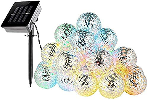 LLLKKK Cadena de luces solares al aire libre, 20 luces LED solares de jardín, resistentes 5 m, 8 modos, plata marroquí, bolas de luz decorativas, iluminación para patio, fiesta, boda (multi)