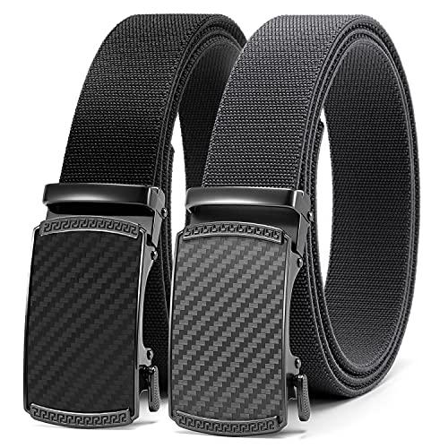 Elastic Stretch Golf Belt, 2 Pack Nylon Ratchet Belt Mens...