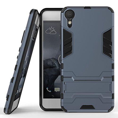Hülle für HTC Desire 10 Lifestyle (5,5 Zoll) 2 in 1 Hybrid Dual Layer Shell Armor Schutzhülle mit Standfunktion Hülle (Blau Schwarz)