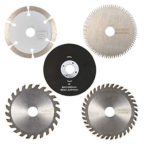 Hoja para sierra circular, diámetro: 85 mm, hoja de corte de 24/36 dientes, hoja de corte HSS de 80 dientes, hoja para sierra diamantada/de resina para madera, metal, azulejos de aluminio