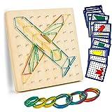 EKKONG Giochi Bambini Montessori Educativi 3 4 5 6 Anni,Geoboard di Legno, Giocattoli Dida...