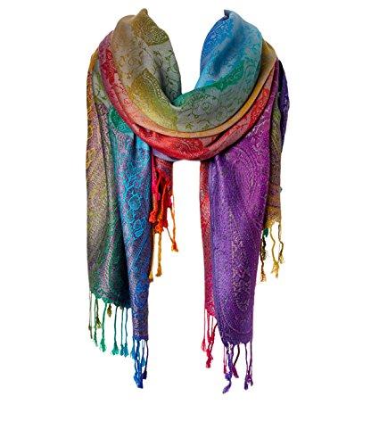 Fashion Women's Silk Scarf Luxury Satin Shawl Wraps, Dark Jewel, Size Large
