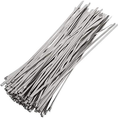 Frofine 100 Piezas 300mm x 4,6mm brida metalica bridas de acero inoxidable bridas cables abrazaderas metalicas para tubos abrazadera cable acero Sujetacables de Acero Inoxidable Cable Bridas de Acero