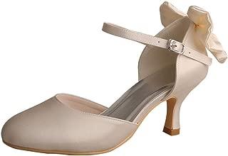Wedopus MW745 Ladies Mary Jane Round Toe Mid Heel Bow Wedding Bridesmaid Shoes Red
