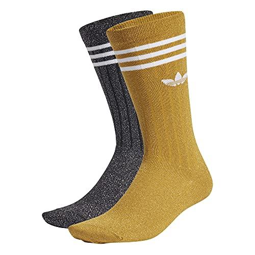 adidas Calcetines redondos Full Glitter Crew Socks, 2 unidades dorado/negro. S