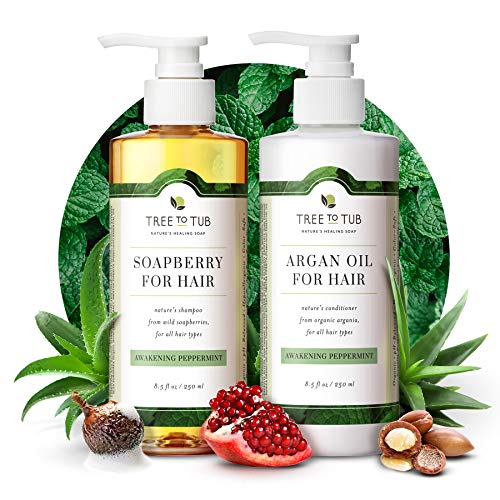 Peppermint Sulfate Free Shampoo and Conditioner by Tree to Tub - Best Shampoo and Conditioner for Sensitive, Oily Hair and Scalp. The Only pH 5.5 Balanced Duo Using Wild Soapberry & Organic Argan Oil
