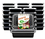 New Century, 50-Pack [38 oz] 1-Compartment Food Container - Rectangular Meal Prep Bento with Lid -...