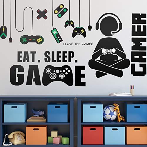3 Blätter Game Wandaufkleber Video Spiel Wandtattoos, Vinyl Spielen Wandsticker Essen Schlaf Spiel Wandtattoo für Jungen Kinder Männer Schlafzimmer Spielzimmer (Sitzung Spiel Junge Stil)
