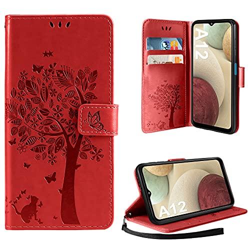 AROYI Hülle Kompatibel mit Samsung Galaxy A12 / M12 Lederhülle, PU Leder Flip Tasche Handyhülle [Kartenfach] [Magnetverschluss] Standfunktion Brieftasche Handy Schutzhülle (Rot)