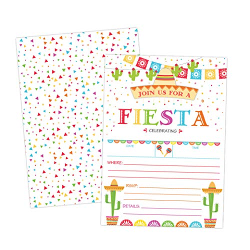 Taco Fiesta Invitations for Birthday, Bridal Shower, Baby Shower, Quinceaera 20 Invitations with Envelopes