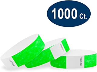 """WristCo Neon Green 3/4"""" Tyvek Wristbands - 1000 Pack Paper Wristbands for Events"""