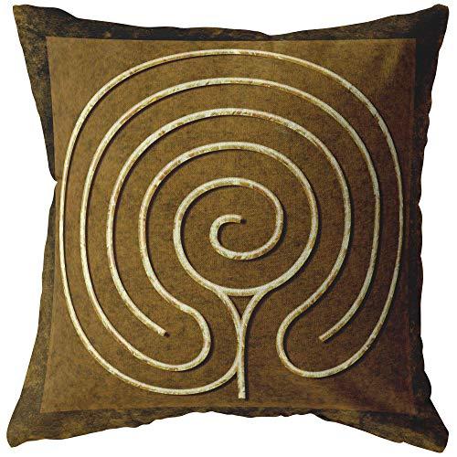 Mandalynths Chakra Vyuha Finger Labyrinth Throw Pillow