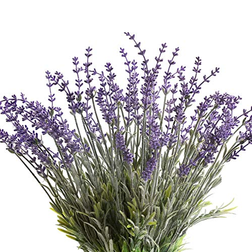 Flojery Artificial Lavender Flowers with Silk Flocked Fake Lavender Plant for Wedding Home Table Centerpiece Decor-Pack of 4