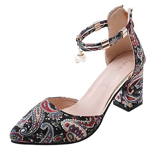 Bluestercool Donna Quadrato Tacco Alto Scarpe Estate Sandali Casual Caviglia Fibbia Cintura Sandali