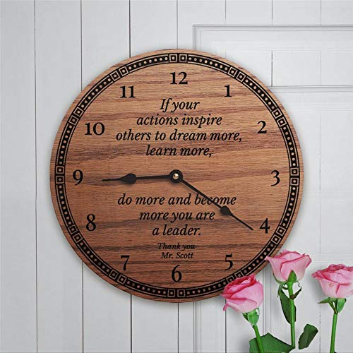 Leader Zitat If Your Actions Inspire Others to Dream You Are A Leader Coworker Retirement Leadership (Thank You) 30,5 cm Holz-Wanduhr batteriebetrieben Wanddekoration Heimdekoration