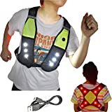 Reflective Running Vest with LED Lights USB Rechargeable Safety Gear Vest, Adjustable Waist