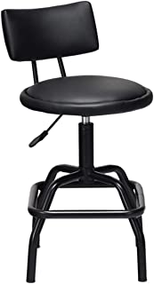 COSTWAY Barstool, Modern Armless Comfortable Adjustable Hydraulic Heavy Duty Steel Frame Stool Bistro Pub, Modern PU Leather Cushion and Backrest for Home, Bar and Shop, Black (1 Retro Style Stool)