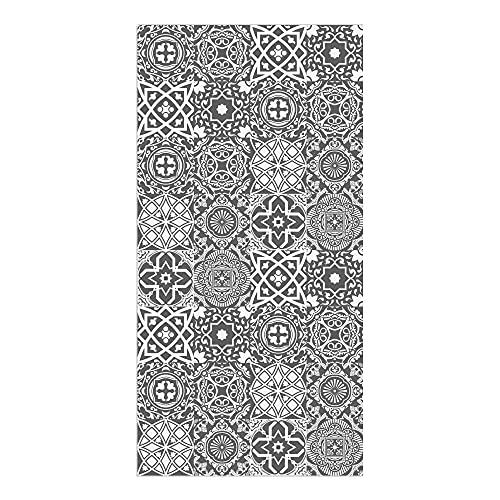Alfombra Vinílica Cocina Baldosas, 80 x 40 x 0.22 cm, Varios Tamaños, Color Gris, Alfombra de Vinilo, Base Antideslizante, Lavable y Recortable, ALV-101