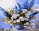 YUHHGFK Pintar por Numeros Adultos Flores Azules Pintura al óleo de DIY por Números con Pinceles y Pinturas para Adultos y Niños Decoraciones para el Hogar- 40 x 50 cm (con Marco de Madera)