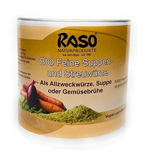 Suppe Gemüsebrühe BIO 300g RASO Gekörnte Brühe EXTRA FEIN - BASICHES LEBENSMITTEL - Suppen und Streuwürze ohne Geschmacksverstärker, ohne Glutamat, ohne Hefeextrakt, ohne Lactose, ohne weitere Zusatzstoffe - Vegan und Vegetarisch ohne weiteren Zusatz von Fett- und, Zucker