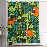 PbbrTK Personalisierter Duschvorhang,Füchse im Nachtwald nahtlos,wasserabweisender Badvorhang für das Badezimmer 180 x 210 cm