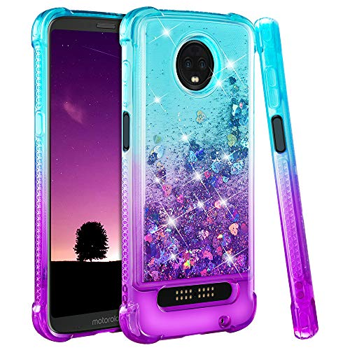 Ruky Moto Z3 Play Case, Moto Z3 Case, Gradient Quicksand Series Glitter Flowing Liquid Floating TPU Bumper Cushion Soft TPU Girls Women Phone Case for Motorola Moto Z3 Play (Teal Purple)