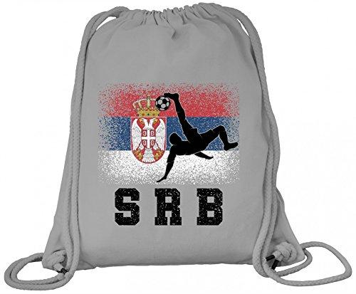 Serbien Fußball WM Fanfest Gruppen Fan Premium Bio Baumwoll Turnbeutel Rucksack Stanley Stella Serbia Football Player, Größe: onesize,Heather Grey
