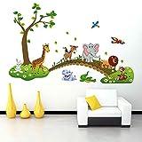 hgjhgkljhk Dibujos Animados Elefante Jirafa Animales Tema Pared Arte calcomanía Pegatina Mural decoración para Sala de Estar vivero bebé Dormitorio decoración