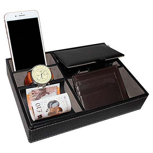 Leather Valet Tray - 25x18cm Catchall Tray 5 Compartment for Men's Accessories - Bedside Nightstand Organiser or Office Desk Leatherette Storage Box for Cufflink, Watch, Phone and Jewellery