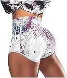 Pantalones cortos sexy para mujer con cintura alta y tallas grandes, pantalones cortos para motero, levantamiento de melocotón, pantalones cortos