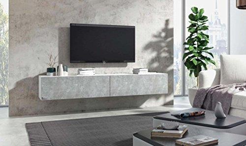 Wuun® TV Board hängend/8 Größen/5 Farben/180cm Matt Weiß- Beton/Lowboard Hängeschrank Hängeboard Wohnwand/Hochglanz & Naturtöne/Somero