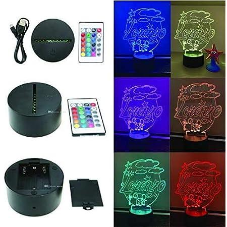 Lampada 3D Led Plexiglass personalizzata, nome, con telecomando, notturna, comodino, cameretta, uv, usb, idea, regalo, bambini, moderna, bagno