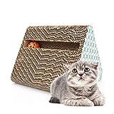 Youyababay Cat Scratcher de cartón Corrugado, Cama Scratch Cat Reversible Scratch Triangle Bell Catnip Gratis Juguete para Gato Incluido