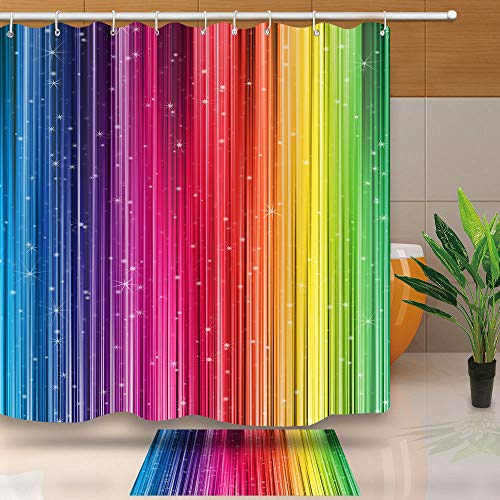 Art Home Decor Shower Curtain, Rainbow Gradual Change Pattern Art Pattern, Waterproof Polyester Fabric Set with Hook, No Liner Need, 72 X 72 Inches, DSNT021-72