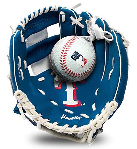 Franklin Sports MLB Youth Teeball Glove and Ball Set - Kids Texas Rangers Baseball and Teeball Glove and Ball - Perfect First Kids Glove - 9.5