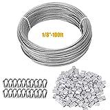 TooTaci 100ft (3mm) Kit de Cuerda cable de Acero Inoxidable Suspensión, Incluye 50 Piezas 1/8' Manguitos de aluminio y...