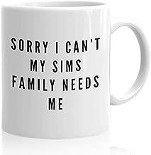 Sims Joke Coffee Mug 15 oz Funny Ceramic Novelty Tea Cup - Unique Quote Gift Idea for Gamer Xmas Birthday Christmas Present Anniversary Kids   White