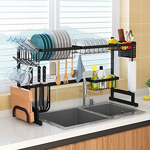 WANGCY Kithchen Dish Drainer Large Capacity Stainless Steel Kitchen Dish Rack