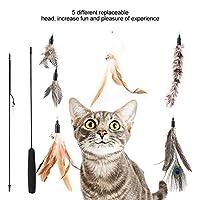 カラフルなソフトフェザー5ピース猫曲げ可能なスティック、丸い滑らかなハンドル猫曲げ可能なおもちゃ、ペット用