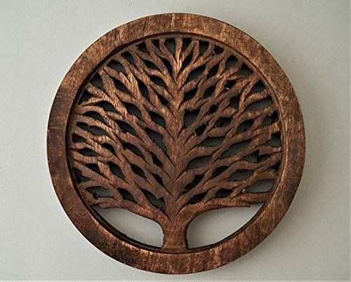 Wooden Trivets For Hot Pots and Pans Tea Pot Holder Tree of Life Design Heat Resistant Durable Handmade Mango Wood Kitchen Dining Table Accessories Dia 8 Inch - Set of 2 Walnut