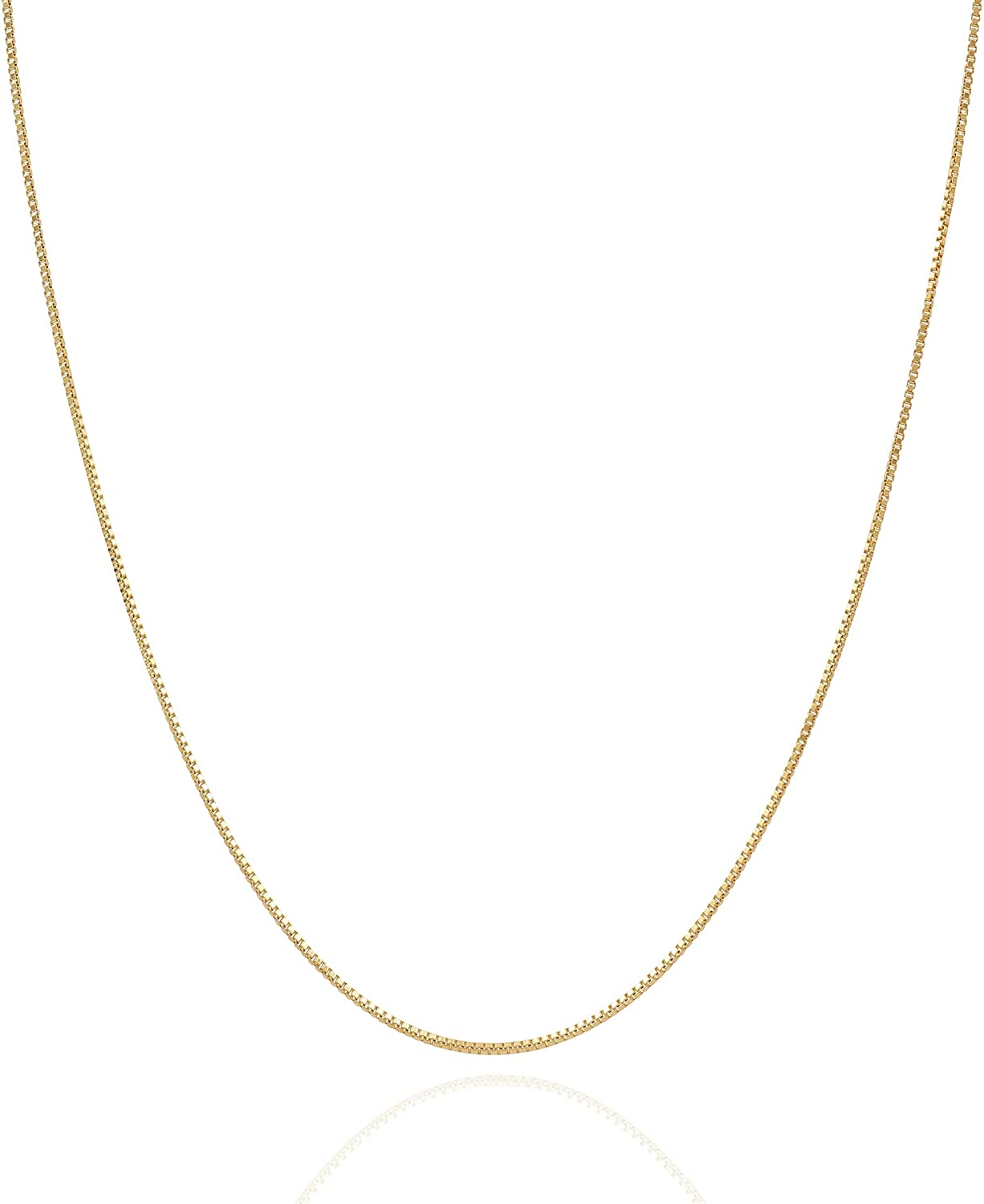 Jewelry Atelier Gold Chain Necklace Collection - 14K Solid Yellow Gold Filled Box Chain Necklaces for Women and Men with Different Sizes (1.0mm or 1.7mm)