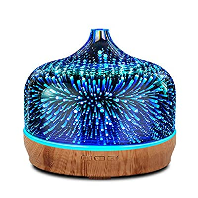 500ml Essential Oil Diffuser 3D Glass Aromatherapy Ultrasonic Humidifier - Auto Shut-Off,Timer Setting, BPA Free for Home Hotel Yoga SPA Gift
