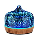 Porseme 500ml Glass Essential Oil Diffuser Aromatherapy Ultrasonic Cool Mist Humidifier 15-21 Running Hours Waterless Auto-Off Air Diffusers for Sleeping,Yoga,Office Working,Spa and Rest(Starry)