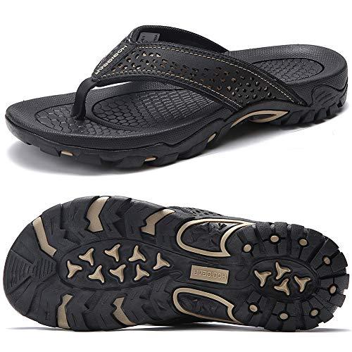 ChayChax Chanclas Hombre Sandalias Deportivo de Playa y Piscina Verano Zapatillas Flip Flops con Suela de Goma,Negro,45 EU