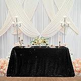 Mantel de lentejuelas negro brillante, decoración de fiesta, mantel rectangular para cocina, cena, fiesta de cumpleaños, boda, baby shower, 152 x 250 cm