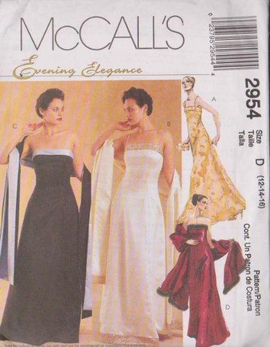 Misses/Miss Petite gefüttert Kleid und Stola McCall 's Abend Eleganz Schnittmuster 2954(Größe D: 121416)
