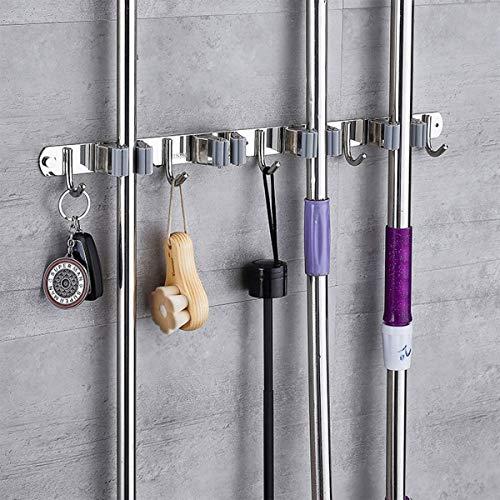 Besenhalterung Wand, Besen Und Mopp-Halter Tidy Organizer Mit 5 Position 6 Haken Storage Rack Organizer Für Küchengartengeräte Garage Organizing