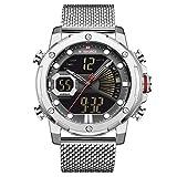NAVIFORCE Reloj De Pulsera Digital Analógico De Acero Inoxidable para Hombres Reloj Despertador Cronógrafo Temporizador Pantalla De Hora Dual NF9172 (Plata)