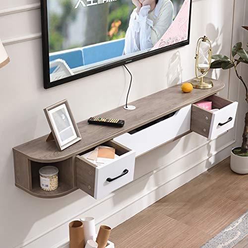 TriGold Wandhalterung Medienkonsole,Holz Schwimmende Fernseh Regale Schrank Moderne Home Decor Wandbehang Hängeboard Tv Für Cable Box Router Grau 150x24x20cm(59x9x8inch)