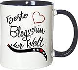 Mister Merchandise Becher Tasse Beste Bloggerin der Welt. Kaffee Kaffeetasse liebevoll Bedruckt Beruf Job Arbeit Weiß-Blau